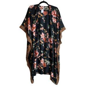 🌼2/$30🌼 NWT AE   Floral Leopard Trim Midi Kimono